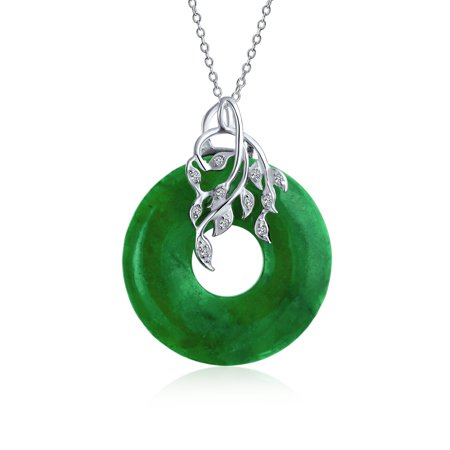 Round Open Circle Disc Dyed Green Jade Leaf Pendant Necklace For Women For Teen 925 Sterling Silver 18 Inch Chain Jade Glass Circle