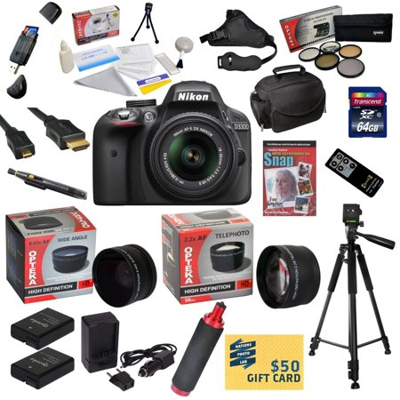 Nikon D3300 Digital SLR Camera with 18-55mm NIKKOR VR II Lens With 64GB SDXC Card, 2 Batteries, Charger, 0.43x + 2.2x Lens, 5 PC Filter, HDMI Cable, Case, Tripod, Handgrip, DVD, $50 Gift Card, More