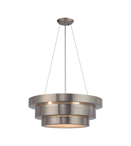 Chandeliers 3 Light With Brushed Stainless Finish Frosted Glass Diffuser Medium Base 22 inch 180 Watts - World of Lamp