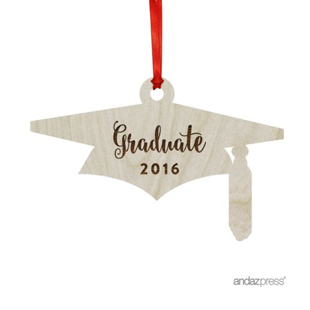 Laser Engraved Wood Christmas Ornament with Gift Bag, Graduate 2017, 2018, Grad Hat Shape (Graduate Hat)