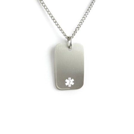 MyIDDr - Pre-Engraved & Customized Pacemaker Medical Alert Dog Tag Necklace, Stainless Steel (Customized Dog Tag Necklaces)