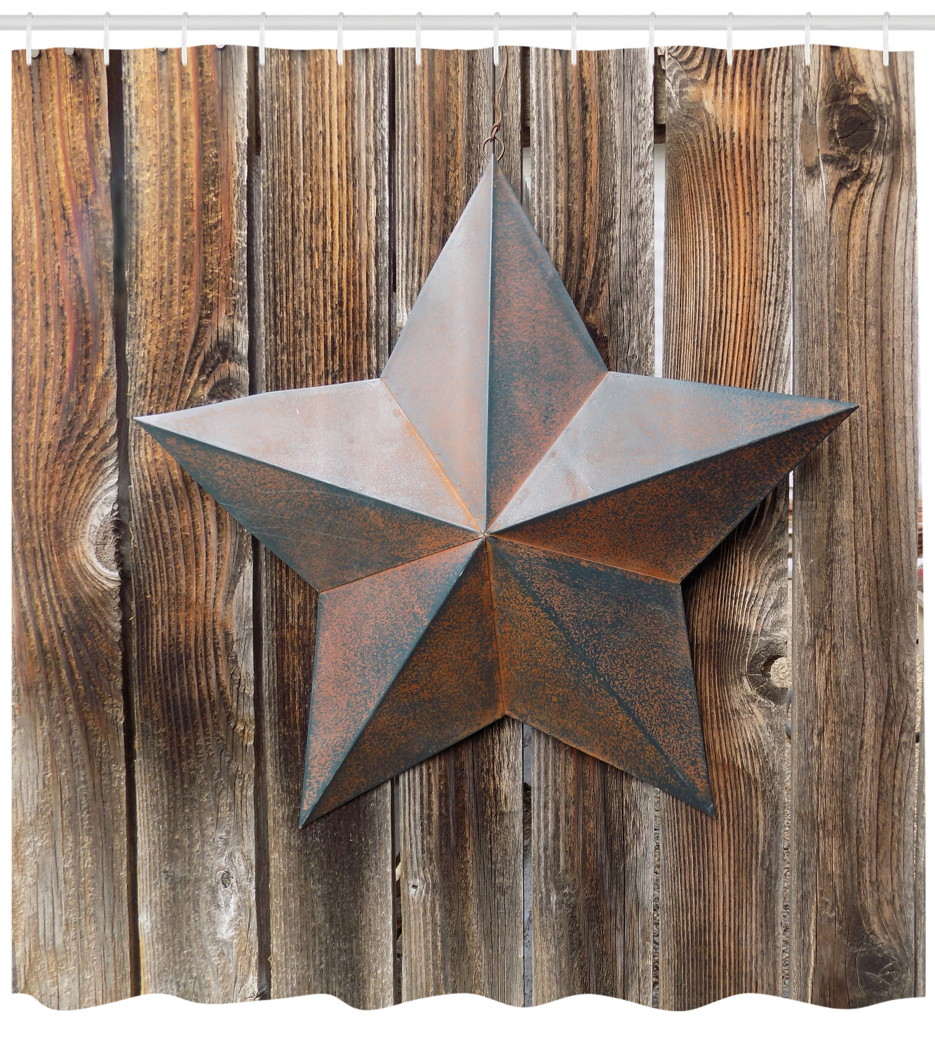 Western Texas Star Rustic Retro Wooden Boards Shower Curtain Hooks Bathroom Mat