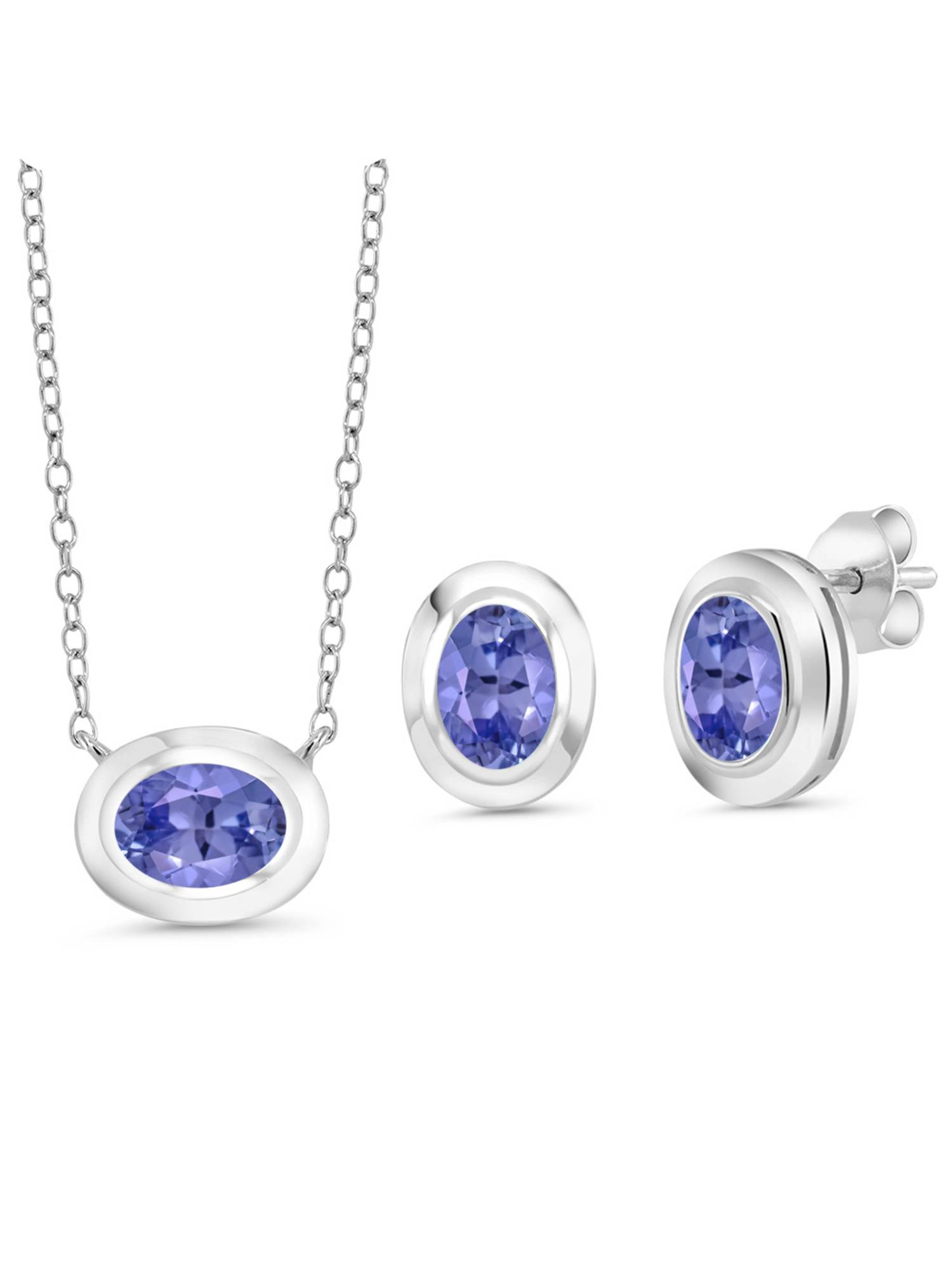 2.25 Ct Oval Blue Tanzanite 925 Sterling Silver Pendant Earrings Set With Chain by