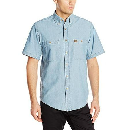 170e648a7c Wrangler - RIGGS WORKWEAR by Men's Chambray Work Shirt,Light Blue,Large -  Walmart.com
