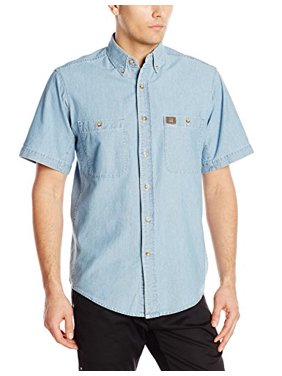 RIGGS WORKWEAR by Men's Chambray Work Shirt,Light Blue,Large