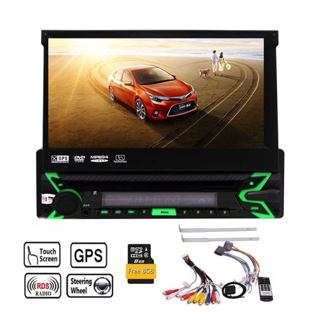- Detachable Front Panel !!! 7 inch Capacitive Touchscreen for Single Din Vehicles With DVD CD Player in dash GPS Navigation/Bluetooth/FM/AM Radio/USB/SD + Remote Control and Free 8GB GPS Map