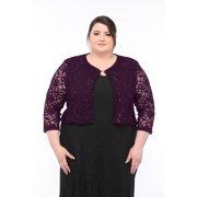 Sleektrends Womens Plus Size Embellished Sequin LaceBolero Jacket
