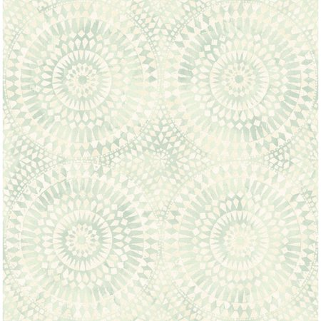 Seabrook Wallpaper in Green, Off White MK20204