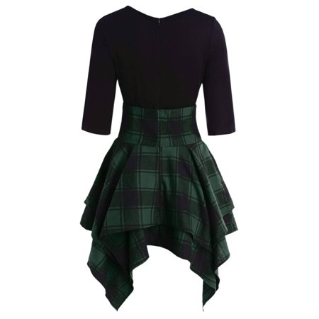 Fashion  Casual Women Tartan Plaid Print O-Neck Lace Up Mini -
