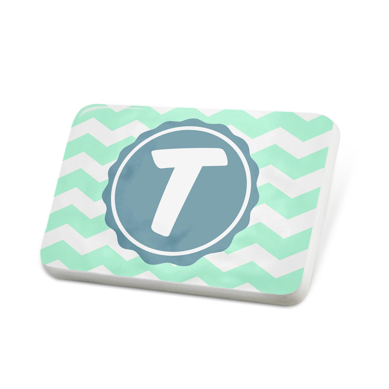 Porcelein Pin Monogram T Mint Green white Chevron Lapel Badge – NEONBLOND