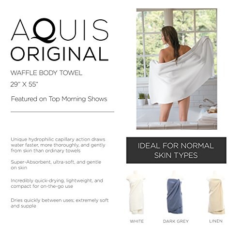 Ultra Absorbent /& Fast Drying Microfiber Towel, White Waffle Body Towel Aquis