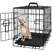 "Paws & Pals 20"" Heavy Duty Foldable Single Door Dog Crate with Removable ABS Plastic Floor Tray, 20"" x 13"" x 16"""