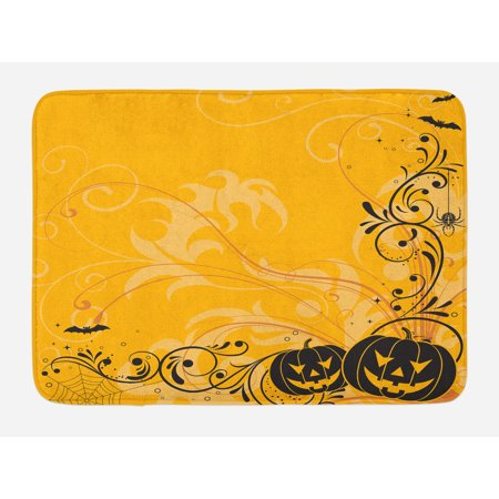Halloween Bath Mat, Carved Pumpkins with Floral Patterns Bats and Web Horror Jack o Lantern Artwork, Non-Slip Plush Mat Bathroom Kitchen Laundry Room Decor, 29.5 X 17.5 Inches, Orange Black, - Non Carved Halloween Pumpkins
