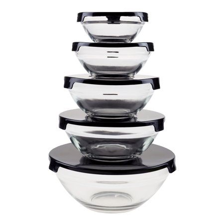 Imagine Glass Bowl - Glass Food Storage Containers with Snap Lids- 10 Piece Set by Chef Buddy (Black)