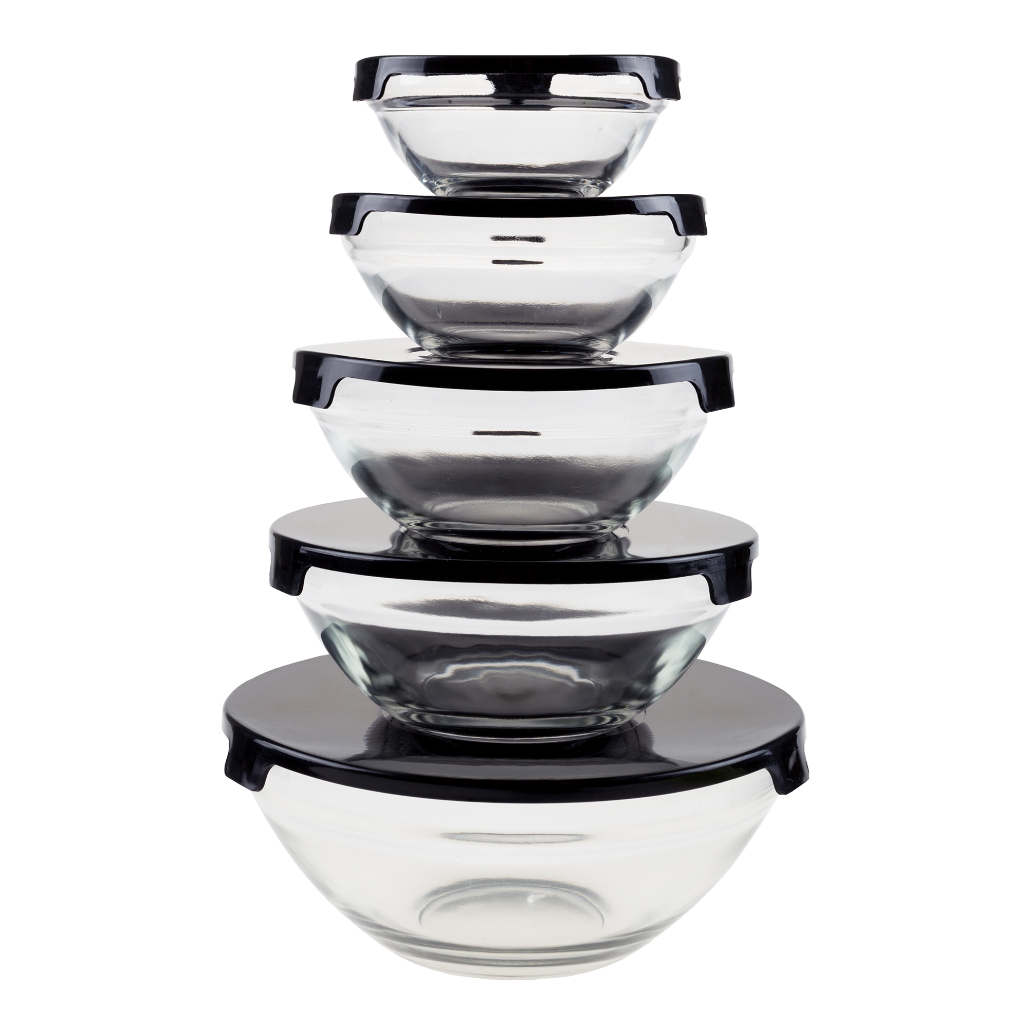 Glass Food Storage Containers with Snap Lids- 10 Piece Set by Chef Buddy (Black)