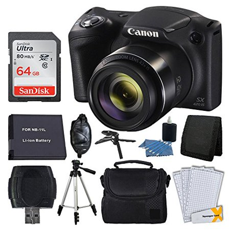 Canon PowerShot SX420 20MP Digital Camera (Black) + 64GB Complete