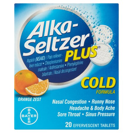 Bayer Alka-Seltzer Plus Cold Formula Orange Zest Effervescent Tablets, 20 count