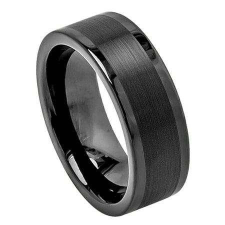 8mm Tungsten Carbide High Polish Black Enamel Pipe Cut Brushed Center Wedding Band Ring For Men Or Ladies Cut Tungsten Wedding Ring