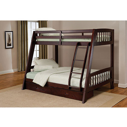 rockdale twin over full wood bunk bed espresso