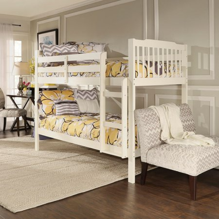 Elise Convertible Twin Over Twin Wood Bunk Bed Soft White Walmart Com