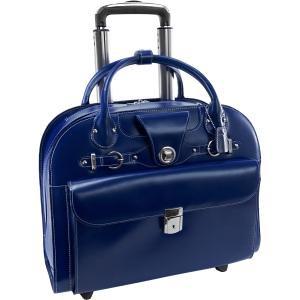 """McKleinUSA EdgeBrook 15.4"""" Leather Wheeled Ladies Laptop Briefcase - Navy"""