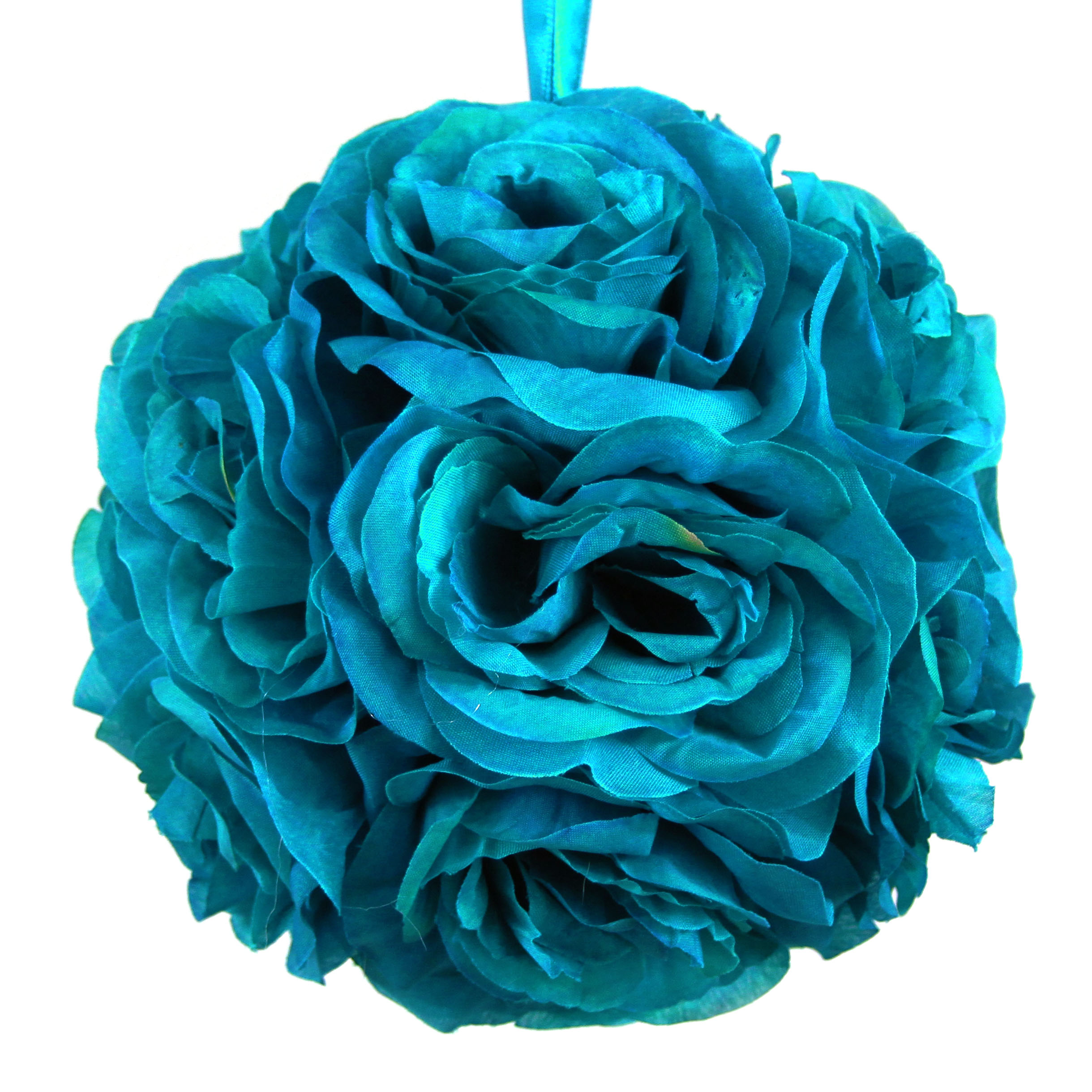 Koyal Rose Ball Wedding Flower Decoration, 6-Inch, Turquoise