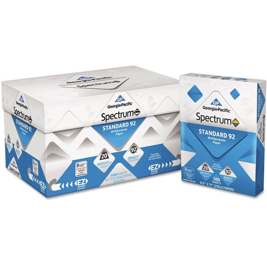 "Georgia Pacific Spectrum Standard 92 Multipurpose Paper, 8.5"" x 11"", White, 5000 Sheets, 10 Reams"