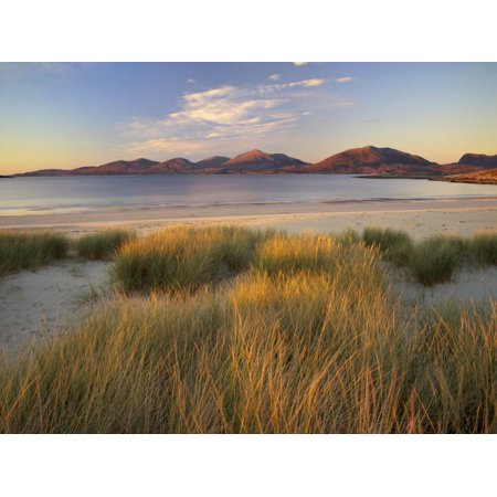Marram Grass and Beach Near Luskentyre, Towards North Harris Forest Hills, South Harris, Scotland Print Wall Art By Patrick