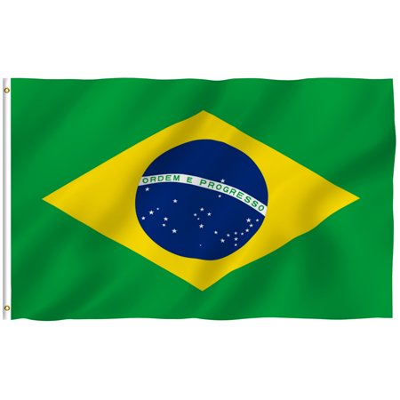 ANLEY [Fly Breeze] 3x5 Feet Brazilian Flag - Vivid Color and UV Fade Resistant - Canvas Header and Brass Grommets - Brazil BR Banner (Brazil Flag Car)
