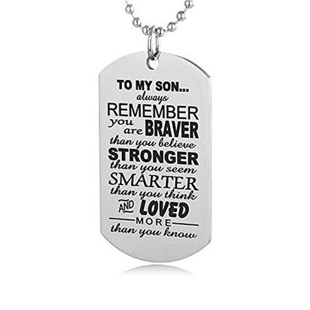 - Girl12Queen TO MY SON Military Army Style Dog Tag Stainless Steel Pendant Men's Necklace
