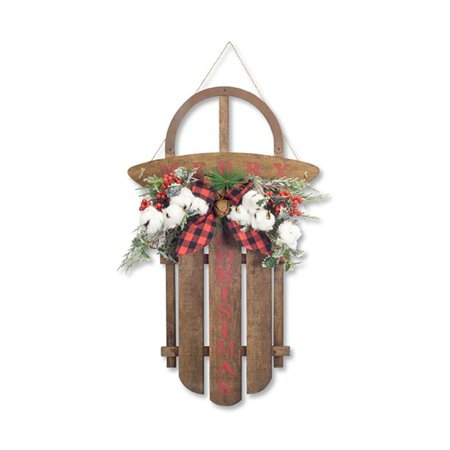 Melrose International 73485DS 27 x 3.5 in. Wood Sled with Pine & Cotton, Brown & Red - image 1 of 1