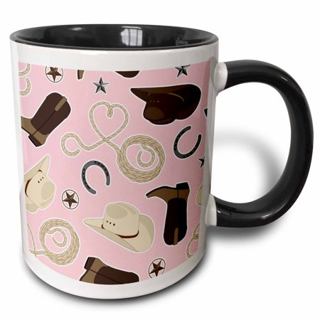 3dRose Cute Cowboy Theme Pattern Pink and Brown - Two Tone Black Mug, (Cowboy Wedding Themes)