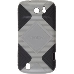 Ventev GEO Hard Shell Soft TPU Silicone Cover Case for ZTE Flash 9500 - Gray/Black