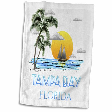 3dRose Nautical sailing graphic of sailboat in Tampa Bay Florida. - Towel, 15 by