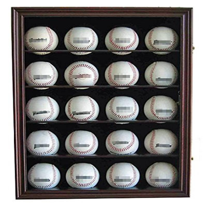 20 Baseball Display Case Cabinet, With 98% UV Protection. With Lock And Keys