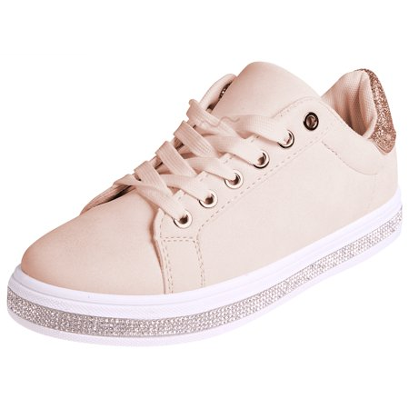 Enimay Womens Glitter Fashion Sneakers Lace Up shoes Beige Size 5 (Beige Sneakers)