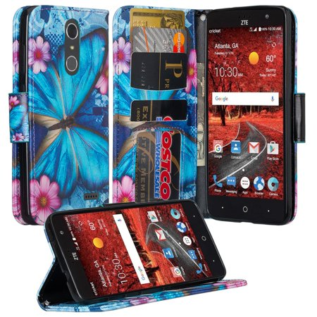 ZTE Grand X 4, ZTE Blade Spark Z971 Case, Wrist Strap Pu leather Magnetic Fold[Kickstand] Wallet Case with ID and Card Slots for Grand X4 - Midnight Butterflies