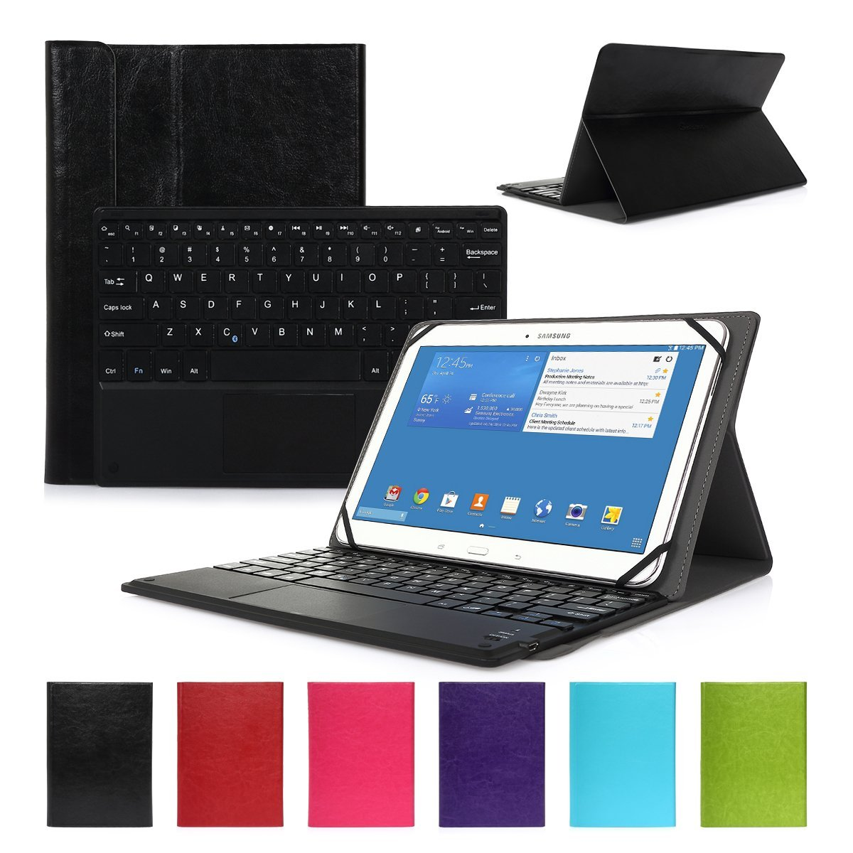 CoastaCloud Wireless Bluetooth Keyboard Leather Case with Auto Wake/Sleep for Samsung Galaxy Tab S2 8.0 9.7 10.1, Tab 3, Tab 4, Tab A and More 9 inch-10 inch Tablet PC