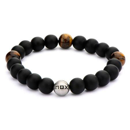 - Men's Stainless Steel Matte Finished Three Tiger's Eye Stones in Black Onyx Bead Bracelet