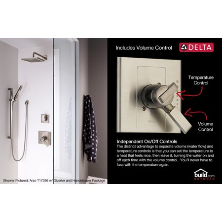Delta Faucet T17T038 Lahara TempAssure 17T Series Dual Function Thermostatic Mixing Valve Trim Package with
