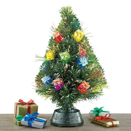 rotating tabletop christmas tree with fiber optic lights gift ornaments