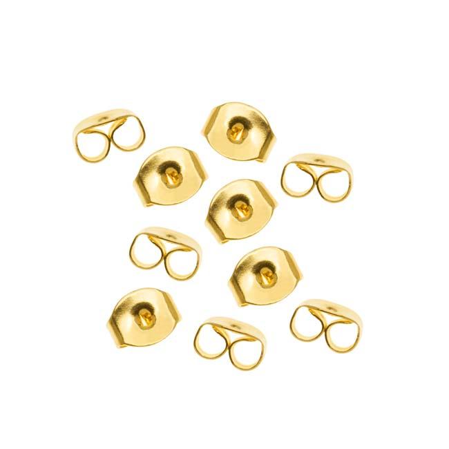 22K Gold Plated Earring Backs (Earnuts) Med. (100)