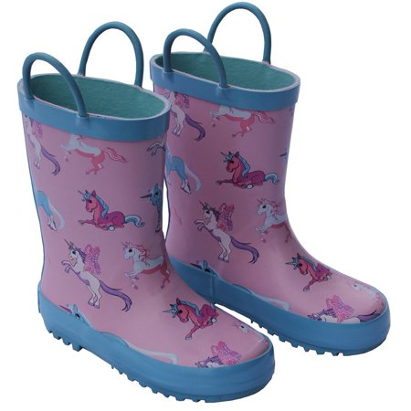 Foxfire Girls Pink Unicorn Print Pull On Handle Rubber Rain Boots - Hot Pink Boots For Girls