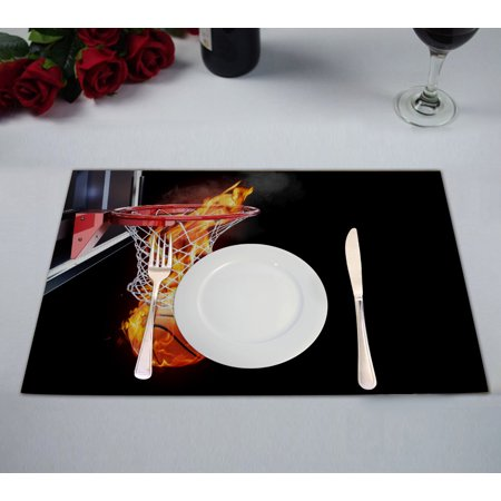 - GCKG Flaming Basketball Table Placemat 12x18 Inch Set of 2
