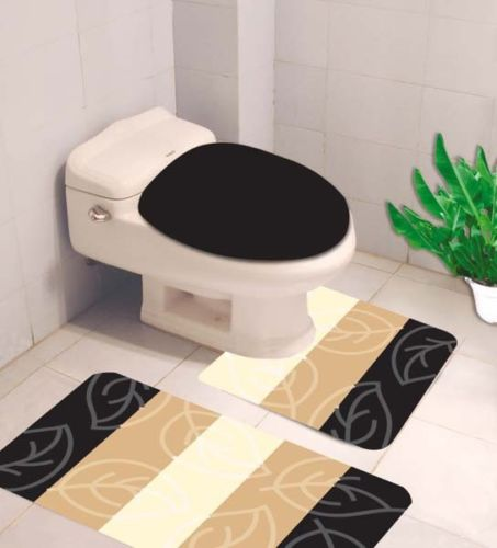Basics Banded Bath Mat Black