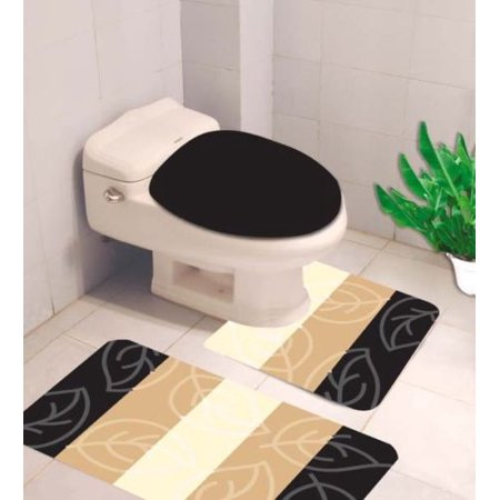 Excellent 4 3 Pc Black Leaves Bathroom Rug Set Banded Bath Mat Rug 18X 29 Contour Mat 18X18 And Toilet Lid Cover 19X19 With Non Skid Rubber Back Gamerscity Chair Design For Home Gamerscityorg