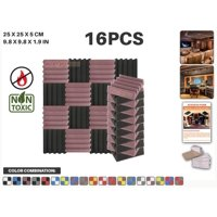 """Acepunch Black and Burgundy 9.8"""" x 9.8"""" x 1.9"""" Wall Studio Wedge Acoustic Foam Sound-Absorbing Tile Panel 16 pcs"""