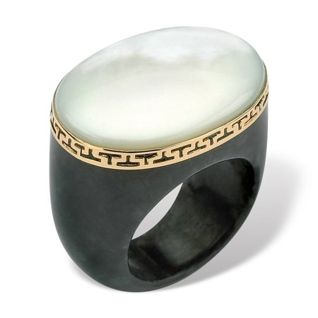 Jade Mother Of Pearl (Oval-Shaped Mother-Of-Pearl Black Jade Greek Key Ring in 14k Gold )