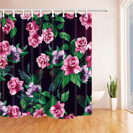 ARTJIA Summer Flowers Watercolor Pink Rose with Green Leaves for Love in Black Polyester Fabric Bath Curtain, Bathroom Shower Curtain 66x72 inches ()