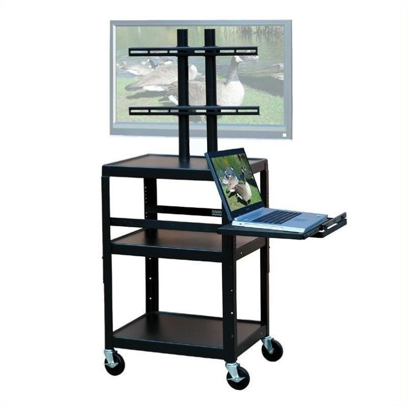 """VTI Adjustable Cart for up to 32"""" Flat Panel TV w/ Pull Out Shelf"""